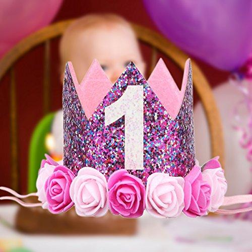 BESTOYARD Princesa Corona Cumpleaños para Bebé de Flor Uno Año Edad Rosado: Amazon.es: Juguetes y juegos