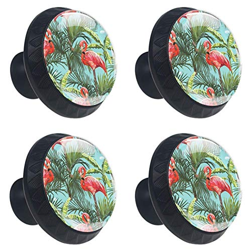 Flamingos Palm Leaves Drawer Knob Pull Handle Cupboard Knobs 4pcs Cabinet Round Furniture Knobs with Screws for Home Office Kitchen Dresser Wardrobe Decorate