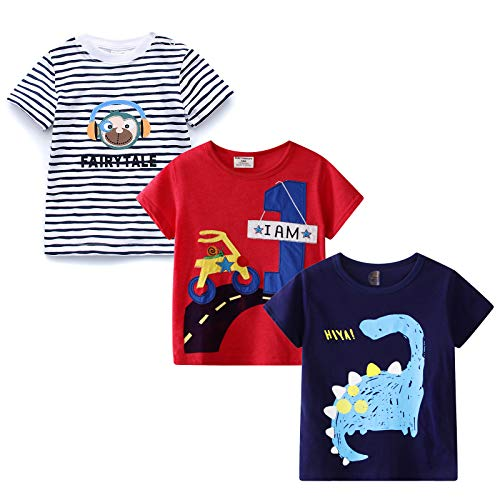 MSSMART Little Boys Graphic Tee Summer Clothes Casual T-Shirt 3-Pack Size 2