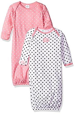 Gerber Baby Girls 2 Pack Gown, Elephants/Flowers, 0-6 Months - Girls Pink Sleeper