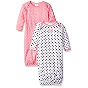 Gerber Baby Girls 2 Pack Gown, Elephants/Flowers, 0-6 Months