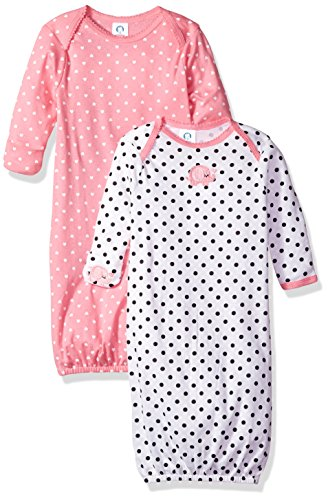 Gerber Baby Girls' 2-Pack Gown, Elephants/Flowers, 0-6 Months ()