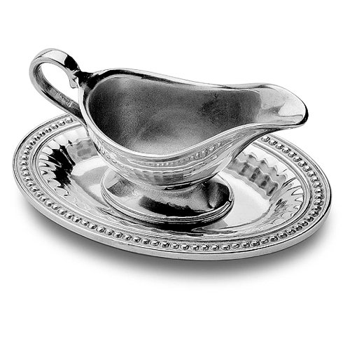- Wilton Armetale Flutes and Pearls Gravy Boat with Oval Tray