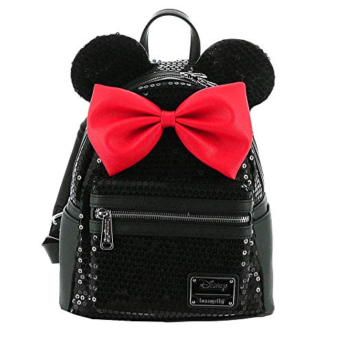 (Loungefly Disney Minnie Sequin Mini Backpack Black-Red)