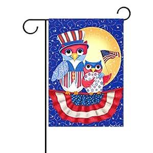 sunlome American Patriotic búho jardín bandera uno doble impresión decorativa casa de vacaciones bandera, 12x 18inches