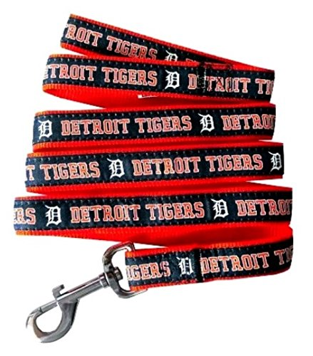 MLB Official Size Large Pets First Detroit Tigers Nylon Collar and Matching Leash for Pets