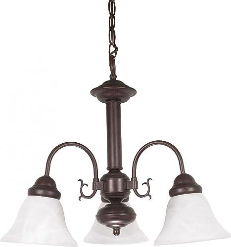 Nuvo 60 184 Lighting Three Light Chandelier, 3 x 20 x 17 , Old Bronze Alabaster Glass