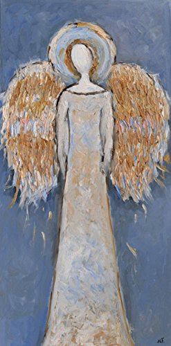 Faceless Guardian Angel Painting Wings Artwork on CANVAS Gold Blue Wall Art for Living Room Bedroom Nursery Christmas Original Oil Texture 16x32 by SmartPolonia