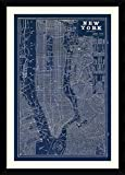 vintage nyc map - Framed Art Print, 'Blueprint Map New York' by Susan Schlabach: Outer Size 30 x 42