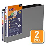QuickFit 94011-02 Heavy Duty 11 x 17 Inch Spreadsheet View Binder, 1 Inch, Locking Angle D Ring, Black, 2 Pack