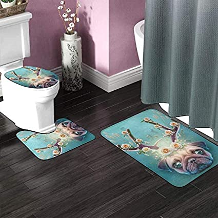 JJLIN Giraffe On Bike Bathroom Rug Set Anti-Slip Water Absorben U-Shaped Toilet Mat Toilet Seat Cover Decorative Doormat