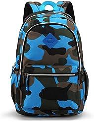 Medium-Sized Backpack for Junior Grade or Preschool Kindergarten Kids Boys Girls (Camo Blue)