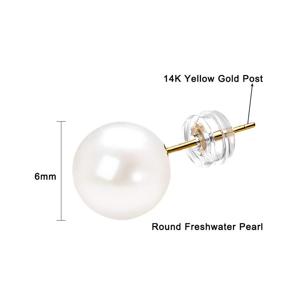 14K Gold Round Freshwater Cultured Pearl Stud Earrings AAAA Quality JORA 1007053
