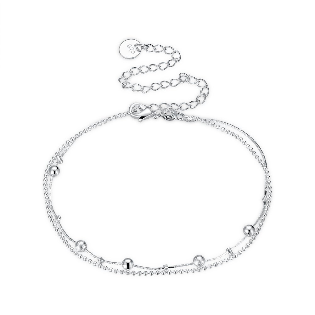 925 Silver Anklet Double-deck Foot Chain Anklets For Women Beach Casual Jewelry Accessories QIANDI JEWELRY LTD QDLKNSPCA134