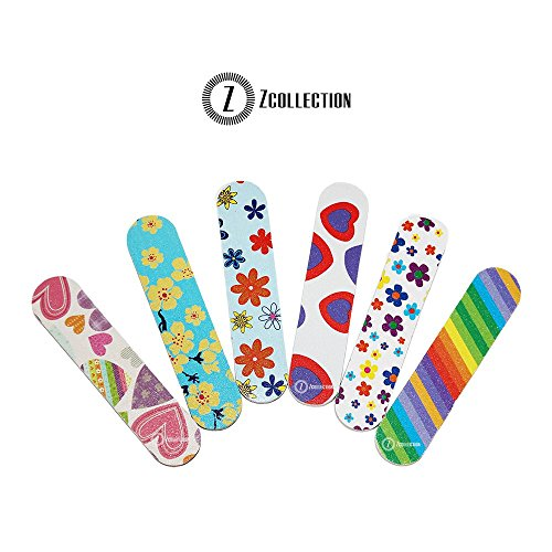 ZCollection TM (1 DOZEN) Colorful Girly Mini Emery Board Nail Files (Mini Nail File Pack)