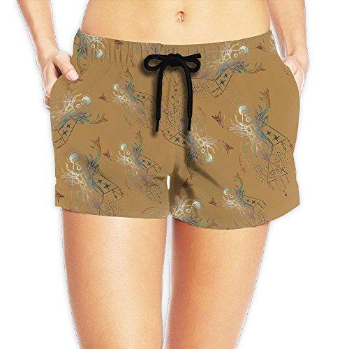 Deer Bone Camouflage Skull Women's Adjustable Fish Fashion Beach Shorts