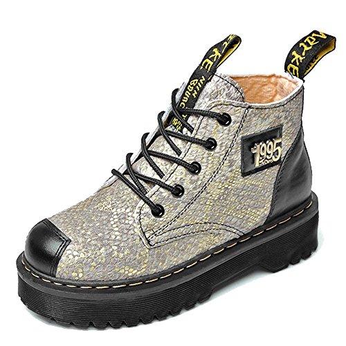 Cordones cálidos cuero gamuza de 39 Martin de para ORO Grueso wdjjjnnnv Mujeres Retro Botas Zapatos zapatos Felpa los de Tacón ocasionales plano estudiantes 87fnxPqw