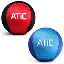 [2 Pack] Stress Ball / Water Bouncing Ball, ATiC Multi-functional Stress Relief Toy for Hand Exercising and Strengthening + Surf Jumping Ball for Summer Sport Game, Red/Black + Light Blue/Blue