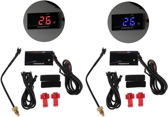 Gwxevce Universal Motorrad Lcd Digital Thermometer Instrument Wassertemperatur Meter Gauge Für Koso Racing Roller Küche Haushalt
