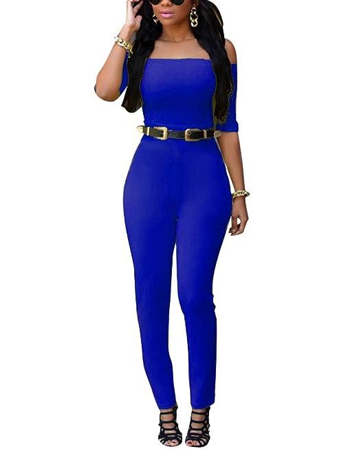 Dénudée Longue Manche Combinaison Pantalon Femme Casual Epaule nzHp7qFSqx