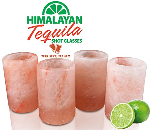 HimalayanSecrets Set of 4 Himalayan Tequila Shot Glass Set - 100% Edible FDA Approved Himalayan Crystal Salt - 3