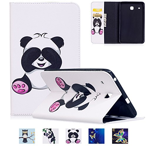 Galaxy T377v/T377a Case,Tab E 8.0'' Case,UUcovers Ultra Slim [Fancy Pattern] PU Leather Flip Stand Case Protective Cover for Galaxy Tab E 8.0 Inch SM-T375/T377a/v/p Tablet,Pink Panda by UUcovers