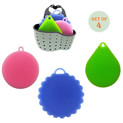 Silicone Kitchen Sponges Multipurpose Non Stick Mildew-Free Antibacterial Silicone Dishwashing Scrubber For Kitchen Brush Pot Pan Dish Bowl, Fruit Vegetable Cleaner, With a Steamer Basket (Silicone Personal Steamer)