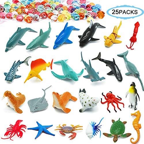 Sea Ocean Animals,Plastic Animal Pool Toys Set 24Pcs Display Model Play Set,Plastic Animal Figures Educational Toys for Boys and Girls by THREE BEARS