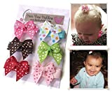 HAIR BOWS Made with VELCRO® brand fasteners for Baby Girl - BEST BABY SHOWER GIFT - Small Mini Traditional Hair bows Polka dots pink brown red green colorful HairBows for Newborns