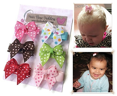 HAIR BOWS Made with VELCRO® brand fasteners for Baby Girl - BEST BABY SHOWER GIFT - Small Mini Traditional Hair bows Polka dots pink brown red green colorful HairBows for Newborns by Hair Bow Holders