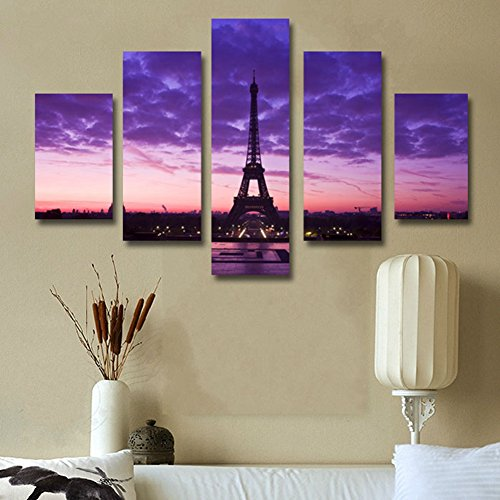 Without frame 5 panels eiffel home tower modern painting for Home decor uae
