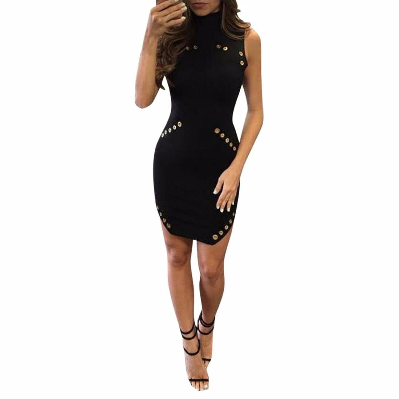 Ecurson Women Sexy Black High-Necked Sleeveless Package Hip Slim Dress