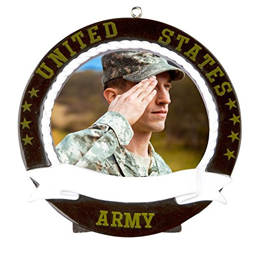 (Army Picture Black Frame Personalized Christmas Tree Ornament)