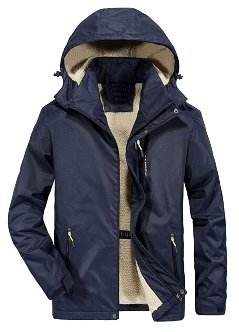 MK988 Mens Winter Removable Hoodie Thermal Outdoor Plus Size Quilted Jacket Parka Coat Outerwear