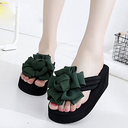 FEI Mules Female summer slippery slippers Thick sandals Fashion beach slippers for 18-40 years Sandals Casual (Color : 1002, Size : 39) 1002