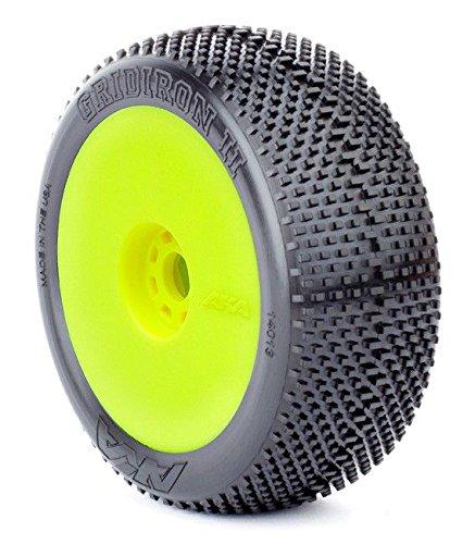 AKA Products 14013SRY Racing Buggy Gridiron II Soft Evo Wheel Pre-Mounted Yellow Tire, Scale 1:8
