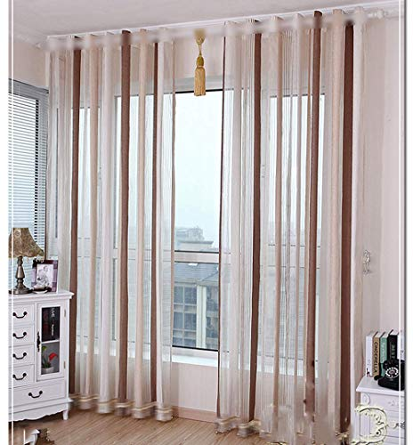 pureaqu Simplicity Modern Striped Sheer Curtain for Living Room/Bedroom Indoor Rod Pocket Top Vertical Light Coffee Grey Voile Drape Panels Dining Room Window Screening 1 Panel W114 x H96 Inch