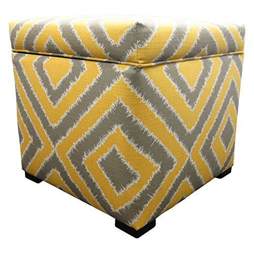 Sole Designs Nouveau Series Tami Collection Dijon Finish Upholstered Ottoman with Storage and Lift Top Dijon Finish