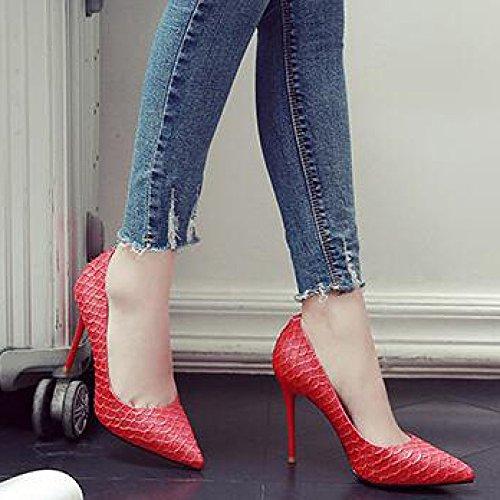 Femme Court 10cm UK Red EU Party Chaussures Mode Work Sexy Haute Noir 4 36 Talons Night Party ZYwq7Zr