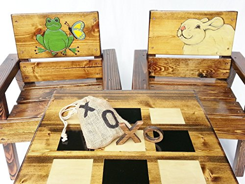 Heirloom High Chair (Kids Game Table and Chair Set, Childrens' Heirloom Wood Furniture, Engraved & Painted Frog & Rabbit)