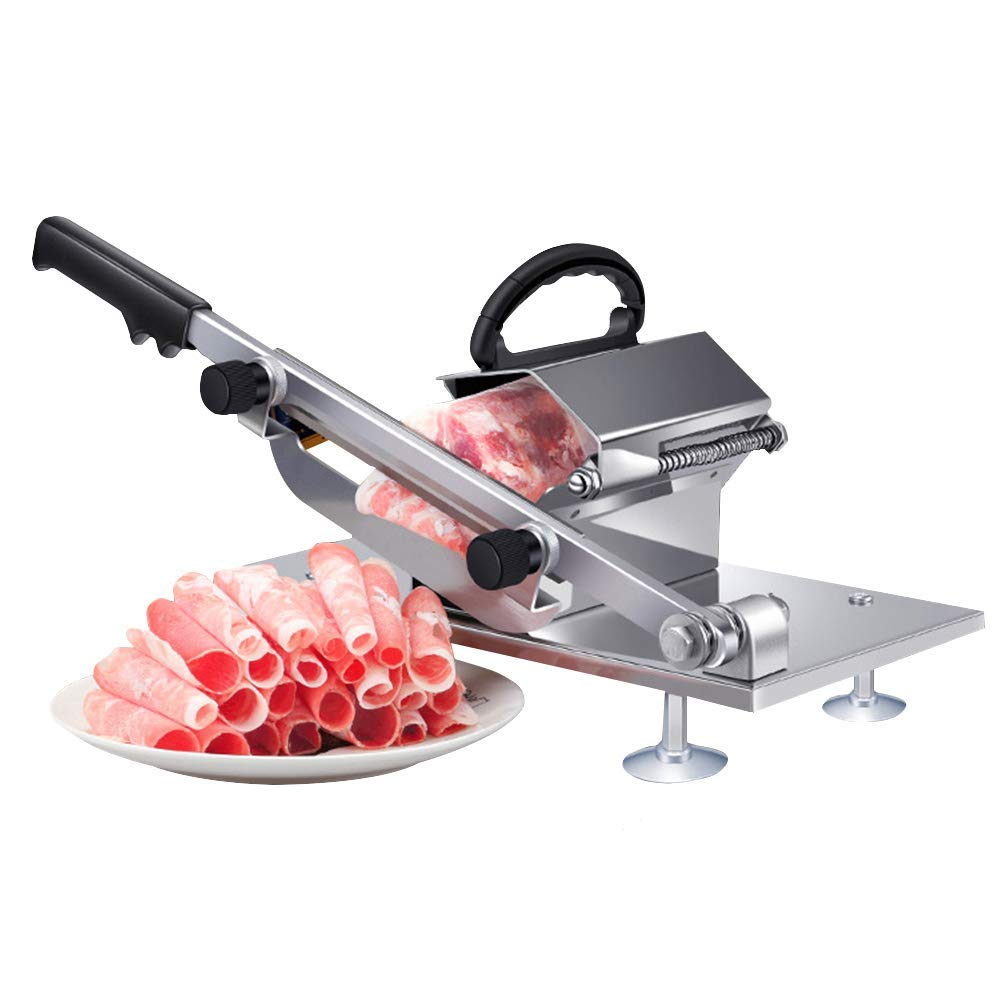 Buy [New Version]Meat Slicer, Manual Frozen Meat Slicer Stainless Steel Beef  Mutton Slicing Machine, Roll Meat Vegetable Meat Cheese Food Slicer, Manual  Gravity Slicer for Home Kitchen [New Version] Online at Low