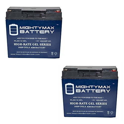 12V 22AH GEL Battery Replaces 51814 6fm17 6-dzm-20 6-fm-18 - 2 Pack - Mighty Max Battery brand (12v Gel)