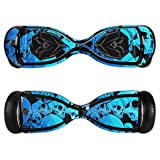 MightySkins Protective Vinyl Skin Decal for Swagtron T5 Hover Board Self Balancing Smart Scooter wrap cover sticker skins Blue Skulls