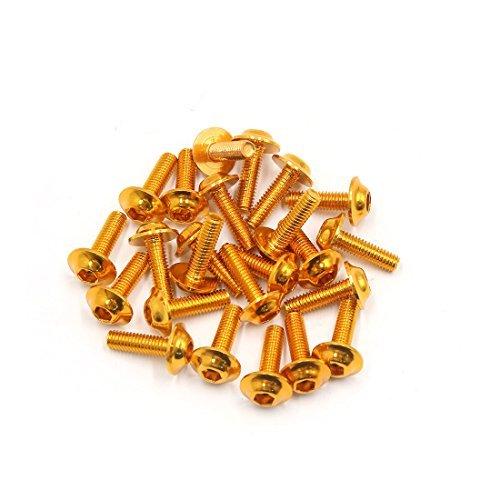 DealMux 24 piezas de oro tono de 6 mm de rosca Dia de aleació n de aluminio carenado pernos hexagonales Tornillos para la motocicleta