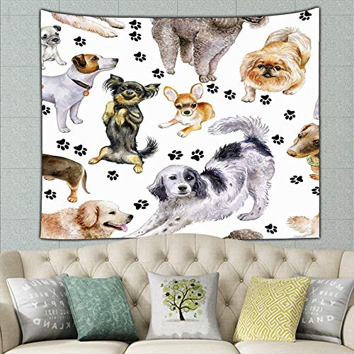 (DWone Hat Dogs Set Beautiful Thoroughbred Animals Dog Wall Hanging Bedding Tapestry Colourful (50x60Inches))