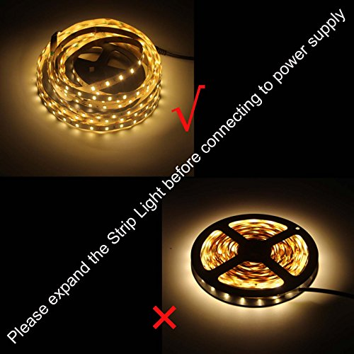 BIHRTC 12V DC Non-Waterproof LED Strip Light SMD 5630 32.8ft(10M) 5M/Roll 600 LEDs 300LEDS/Roll Flexible Rope Light (No Power Supply), Warm White by BIHRTC (Image #3)
