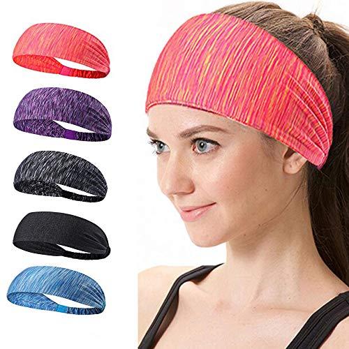 - TopBine 5 Pack Sports Headband, Women's Yoga Athletic Hairband, Men's Sweatband, Working Out Sports Headband for Running, Travel and Fitness, Lightweight Non Slip Wicking Elastic Sports Headband