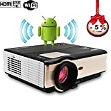 CAIWEI HD Home Theater Cinema Projector 1080p LCD LED Projector Android USb XGA 3D Hdmi Vga Wuxga Multimedia Beamer Projector for Video Games Tv Movie Presentation Music Outdoor Education with Wifi