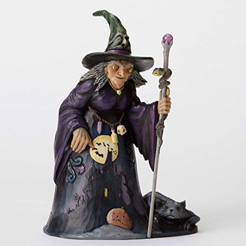 Jim Shore Be Very Afraid Witch with Haunted House Halloween Figurine 4053863 (Jim Shore Witch)