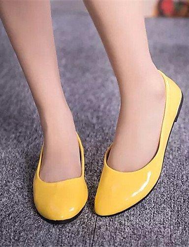 PDX/ Damenschuhe-Ballerinas-Outddor / Lässig-Kunstleder-Flacher Absatz-Komfort-Schwarz / Blau / Gelb / Rosa / Lila / Rot / Weiß / Beige , yellow-us9 / eu40 / uk7 / cn41 , yellow-us9 / eu40 / uk7 / cn4